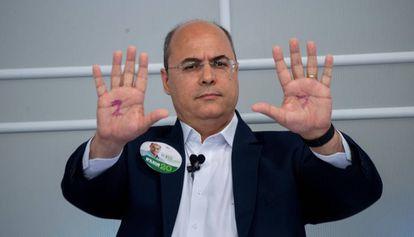 Wilson Witzel, en un debate televisado en Río de Janeiro, el pasado septiembre.