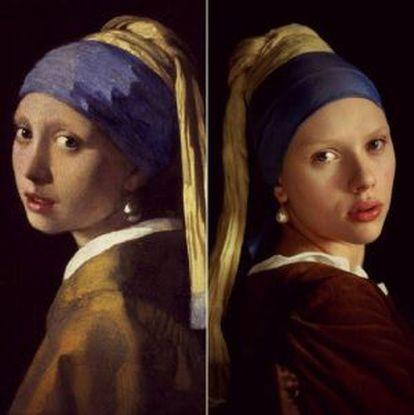 El original de Vermeer, a la izquierda, y el que se realizó para 'La joven de la perla', con Scarlett Johanson.