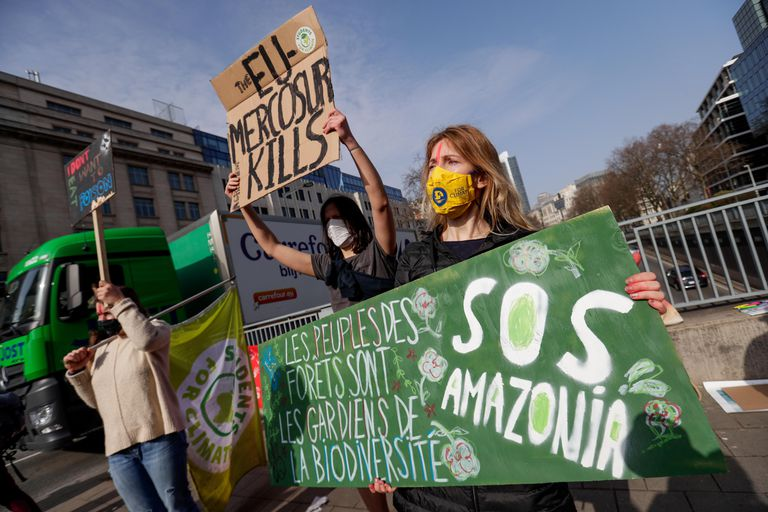 Climate activists participate in a demonstration organized by Youth for Climate and Rise for Climate Belgium against the EU-Mercosur Treaty in Brussels, Belgium, on March 3.