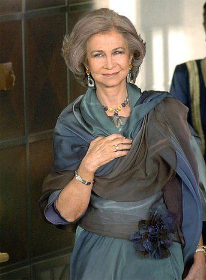 La reina Sofía, en Ammán en 2004 durante los festejos de la boda del príncipe heredero de Jordania.
