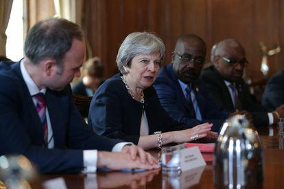 Theresa May, durante su reunión con los líderes antillanos.