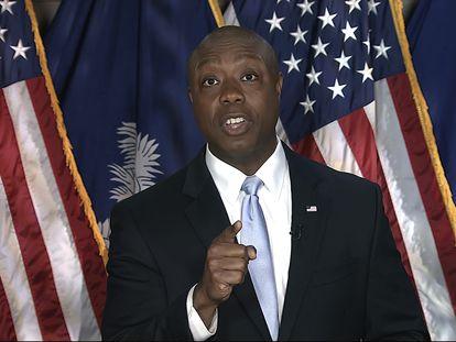 El senador republicano Tim Scott, durante su respuesta al discurso de Biden.