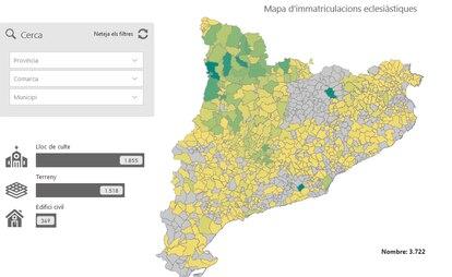 Mapa para consultar las inmatriculaciones de la Iglesia en Cataluña.