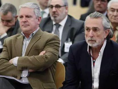 Pablo Crespo y Francisco Correa, durante uno de los juicios celebrados en la Audiencia Nacional.