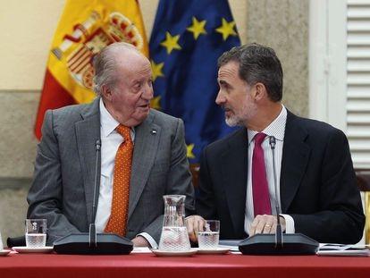 Juan Carlos I y Felipe VI, el 14 de mayo de 2019.