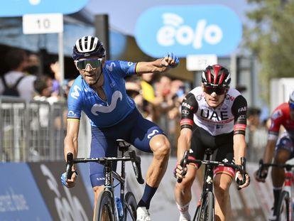 Valverde celebra, el jueves, su victoria en el Giro de Sicilia.
