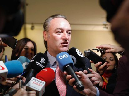 El expresidente valenciano Alberto Fabra, este lunes.