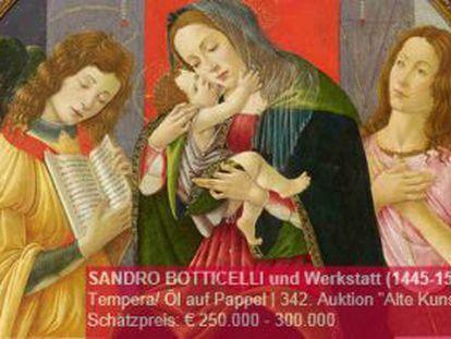 Imagen de la pintura de Boticelli, en la web de la casa de subastas.