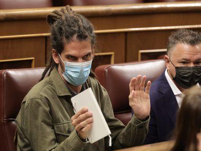 El diputado de Unidas Podemos Alberto Rodríguez en el Congreso, el pasado 14 de octubre.