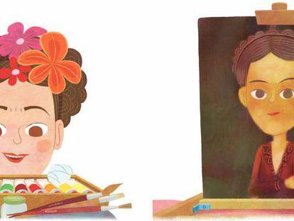 Páginas del libro sobre Frida Kahlo de la colección 'Mis pequeños héroes'.