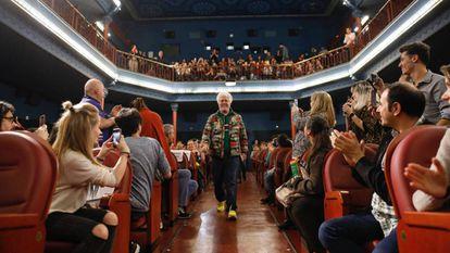 Pedro Almodóvar, ayer, en la presentación de la película 'La mala educación' en la Filmoteca.