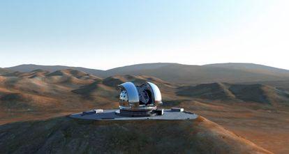 Ilustración del cerro Armazones, en Chile, conla cumbre aplanada y el futuro telescopio E-ELT.