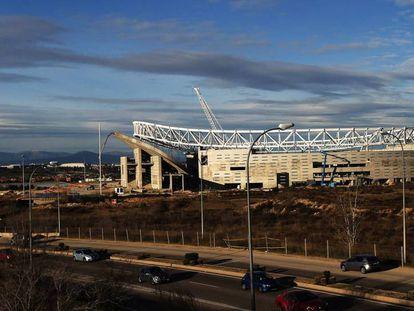 Obras del futuro estadio del Atlético de Madrid.