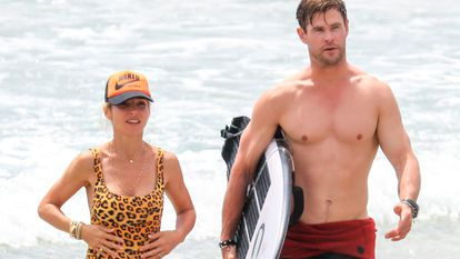 Elsa Pataky y Chris Hemsworth, en Byron Bay en 2018.