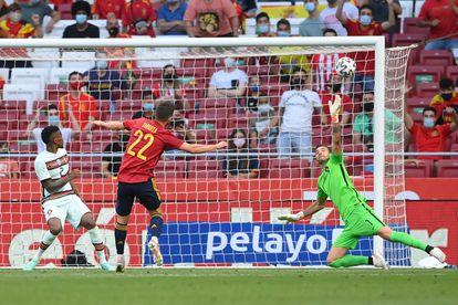 Pablo Sarabia se pierde el gol de España en el amistoso ante Portugal.