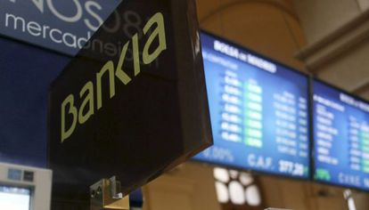 Paneles informativos en la Bolsa de Madrid