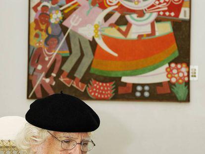 El poeta Ernesto Cardenal en su casa de Managua.