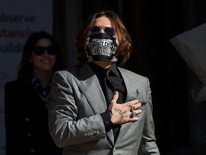 Johnny Depp, en el último día de su juicio contra 'The Sun', el 28 de julio de 2020, en Londres.