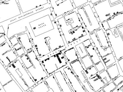 Mapa del brote de cólera en Broad Street, en Londres, creado por John Snow para localizar las muertes en torno al pozo contaminado.