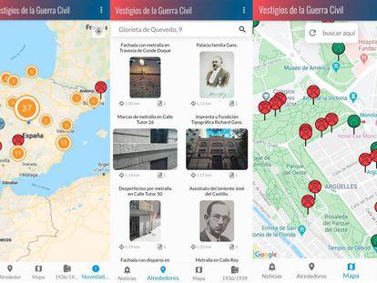 Pantallazos de la app 'Vestigios de la Guerra Civil'