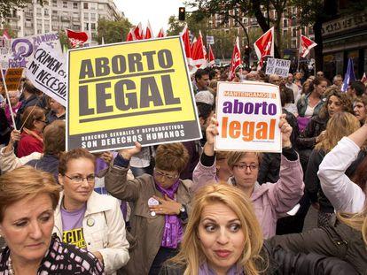 Una manifestación convocada en 2014 para celebrar la decisión del Gobierno de Rajoy de no modificar la ley del aborto de Zapatero.