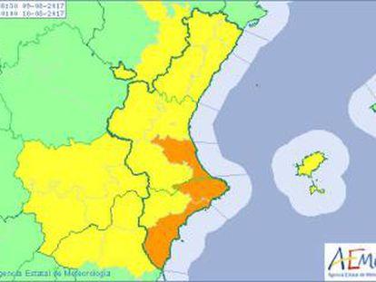 Aemet ha decretado alerta naranja por lluvias en parte del litoral de Valencia y Alicante.
