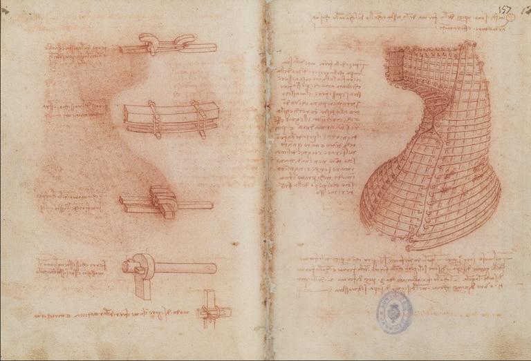 Códice de Leonardo da Vinci, dedicado a la fortificación y geometría, con el diseño del monumento a Ludovico Sforza.