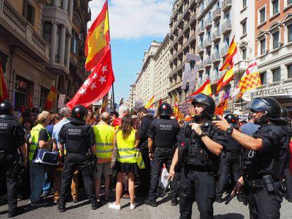 Una manifestación contra la inmersión lingüística en Barcelona, en una imagen de archivo.