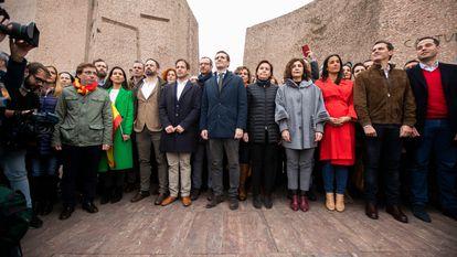 Acto por la unidad de España y por la convoicatoria de elecciones generales en la Plaza de Colón (Madrid).