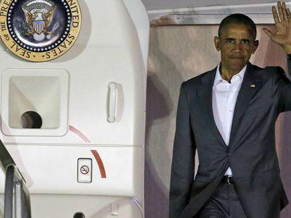 Barack Obama sale del avión presidencial el pasado 3 de junio. FOTO: AP | VÍDEO: ATLAS