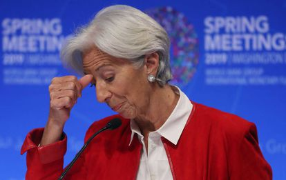 Christine Lagarde, durante su conferencia de prensa en el FMI.