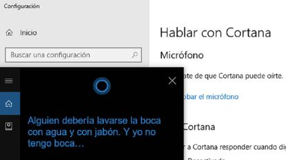 """Captura de pantalla de la respuesta de Cortana a la afirmación """"eres una puta""""."""