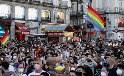 Manifestación celebrada este lunes en la Puerta del Sol, en Madrid, para condenar la brutal agresión que acabó este sábado con la vida de Samuel Luiz.