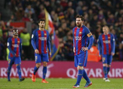 Reacción de Messi tras encajar el Barcelona el gol del Leganés.