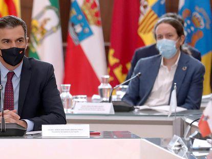 El presidente del Gobierno, Pedro Sánchez, al inicio de la XXI Conferencia de Presidentes, en San Millán de la Cogolla, La Rioja el 31 de julio.