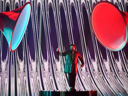 El participant británico, James Newman, este viernes durante los ensayos finales de la final de Eurovisión.