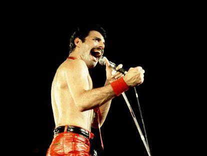 Freddie Mercury junto con su grupo Queen en Chicago en 1980.
