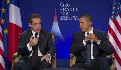 Entrevista conjunta de Sarkozy y Obama en la TF1 francesa.