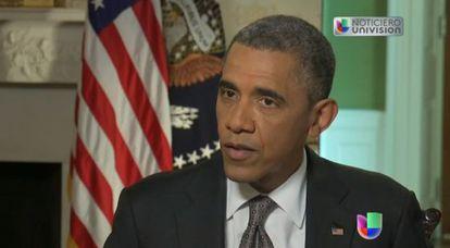 Captura de pantalla de la entrevista de Barack Obama con Univisión.