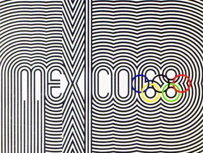 Uno de los desarrollos del logotipo de los Juegos de México.