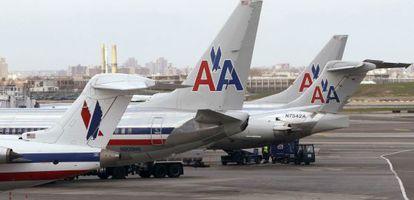 Aviones de American Airlines en el aeropuerto de LaGuardia de Nueva York.