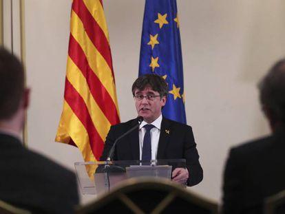 Carles Puigdemont, en un discurso que pronunció el pasado febrero.