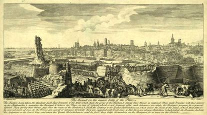 Vista de l'assalt de les tropes borbòniques sobre Barcelona el 1714, segons un gravat de l'època.