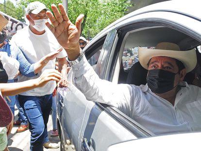 Félix Salgado, en Ciudad de México este abril durante una protesta.