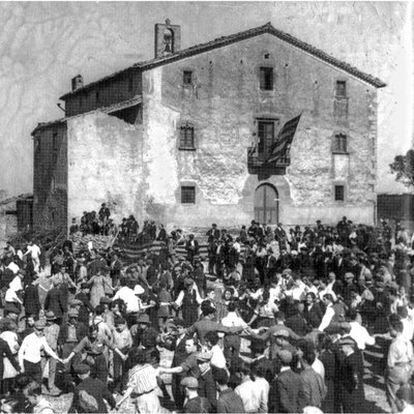 La masía del Pla de la Garga, en Centelles (Osona), donde nació Ildefons Cerdà, en una imagen de 1922.
