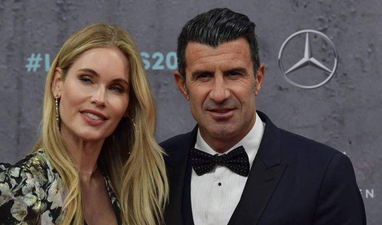 Luis Figo y su esposa, Helen Svedin, en la entrega de premios Laureus celebrados en Berlín.