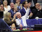 NEW YORK, NEW YORK - SEPTEMBER 10: Rod Laver, former tennis player, waves as he attends the Men�s Singles semifinal match between Novak Djokovic of Serbia and Alexander Zverev of Germany during on Day Twelve of the 2021 US Open at the USTA Billie Jean King National Tennis Center on September 10, 2021 in the Flushing neighborhood of the Queens borough of New York City.   Matthew Stockman/Getty Images/AFP == FOR NEWSPAPERS, INTERNET, TELCOS & TELEVISION USE ONLY ==
