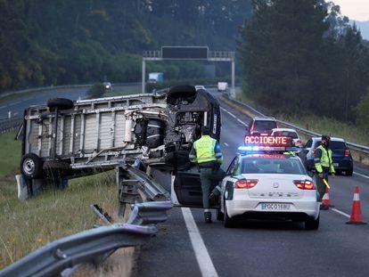 Accidente de tráfico en O Porriño, en Pontevedra, el pasado 14 de abril.