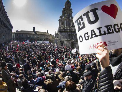 Manifestación en Santiago en defensa de la enseñanza en lengua gallega.