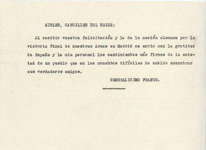 Telegrama de Franco para Hitler.